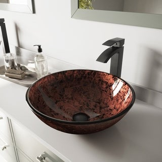 VIGO Mahogany Moon Glass Vessel Sink and Duris Faucet Set in Matte Black Finish