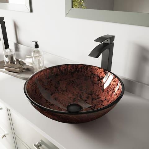 VIGO Mahogany Moon Glass Vessel Bathroom Sink Set with Duris Faucet