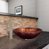 VIGO Mahogany Moon Glass Vessel Sink and Duris Faucet Set in Brushed Nickel Finish