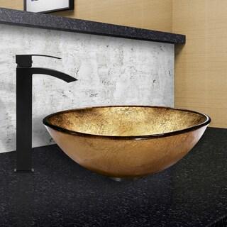 VIGO Liquid Gold Glass Vessel Sink and Duris Faucet Set in Matte Black Finish
