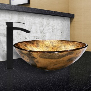 VIGO Copper Shapes Glass Vessel Sink and Duris Faucet Set in Matte Black Finish