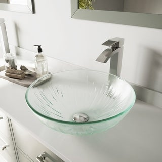 VIGO Icicles Glass Vessel Bathroom Sink and Duris Faucet Set