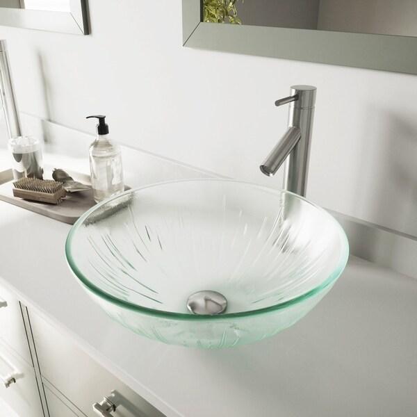 VIGO Icicles Glass Vessel Bathroom Sink and Dior Vessel Faucet Set