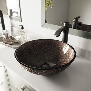 VIGO Copper Shield Glass Vessel Sink and Linus Faucet Set in Antique Rubbed Bronze Finish