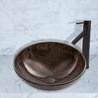 VIGO Copper Shield Glass Vessel Sink and Dior Faucet Set in Antique Rubbed Bronze Finish