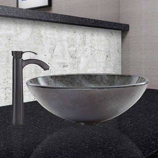 VIGO Gray Onyx Glass Vessel Sink and Otis Faucet Set in Matte Black Finish