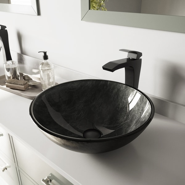 VIGO Grey Onyx Glass Vessel Bathroom Sink and Blackstonian Faucet Set