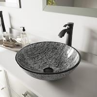 VIGO Titanium Glass Vessel Sink and Otis Faucet Set in Matte Black Finish