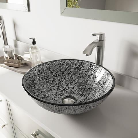 VIGO Titanium Glass Vessel Bathroom Sink Set with Linus Vessel Faucet