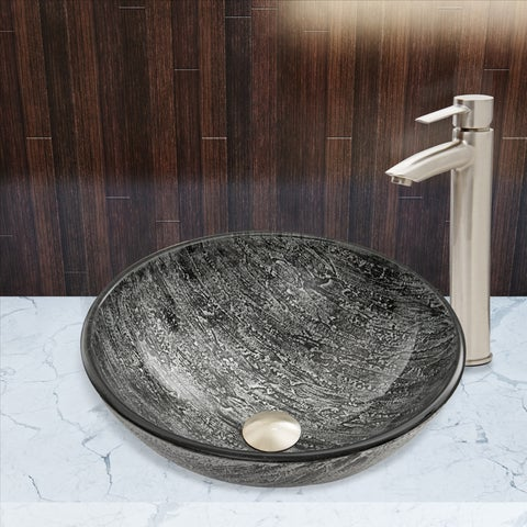 VIGO Titanium Glass Vessel Sink and Shadow Faucet Set in Brushed Nickel Finish
