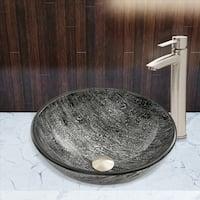 VIGO Titanium Glass Vessel Bathroom Sink Set with Shadow Faucet