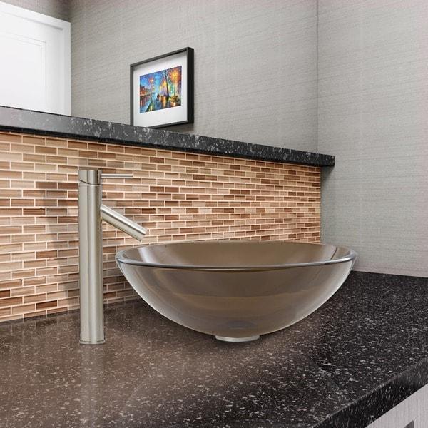VIGO Sheer Sepia Glass Vessel Sink and Dior Faucet Set in Brushed Nickel Finish - Brown