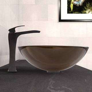 VIGO Sheer Sepia Glass Vessel Sink and Blackstonian Faucet Set in Antique Rubbed Bronze Finish