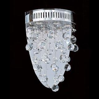 Crystal Rain Drop 3-light 'Drops of Rain' Crystal Mirror Back Plate Wall Sconce