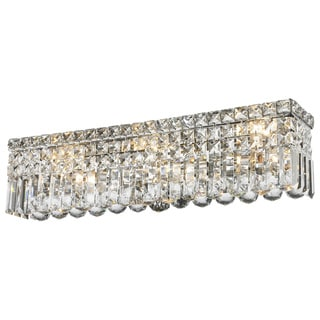 Contemporary 6 Light Chrome Finish Crystal Strand Wall Vanity Light