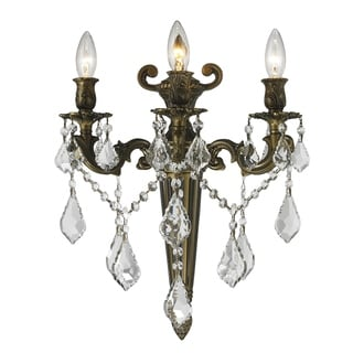 French Royal 3-light Antique Bronze Crystal Torch Candle Large Wall Sconce
