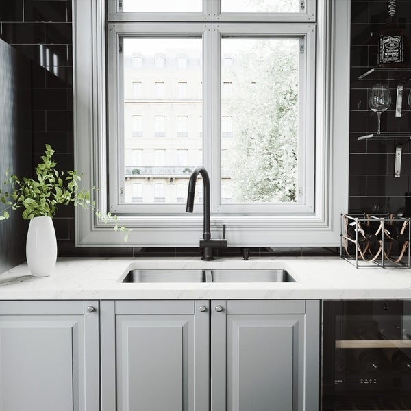 VIGO Newhall Stainless Steel Kitchen Sink and Gramercy Faucet Set