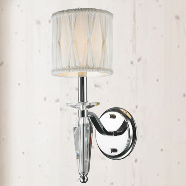 Modern Elegance 1 Light Arm Chrome Finish Tapered Crystal Stem Wall Sconce With White