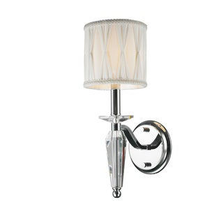 Elegant 1 Light Arm Chrome Finish Tapered Crystal Stem Wall Sconce Light with White Fabric Shade