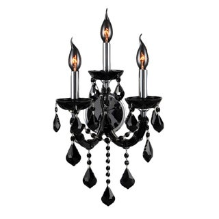 Maria Theresa Imperial 3-light Black Crystal Candle Wall Sconce Light