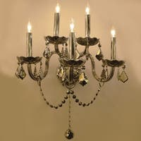 Provence Venetian Style 5-light Chrome Crystal Candle Wall Sconce Light Two 2 Tier