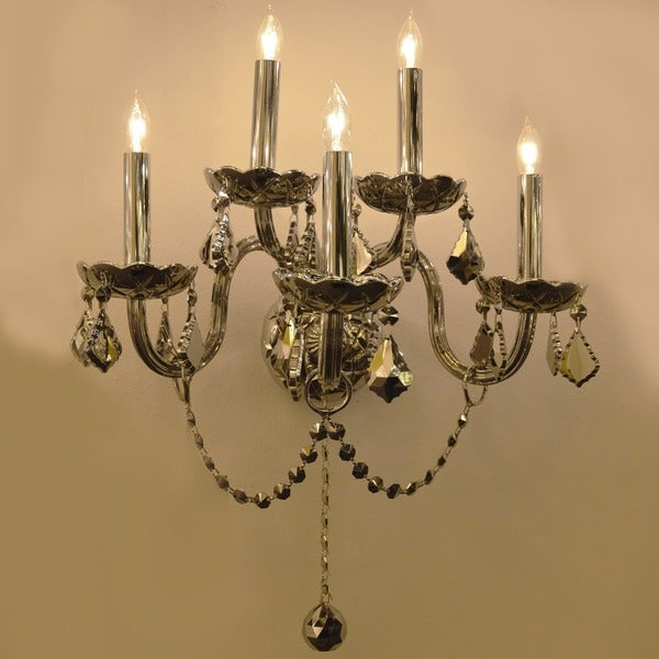 Provence Venetian Style 5 Light Chrome Crystal Candle Wall Sconce Two 2 Tier