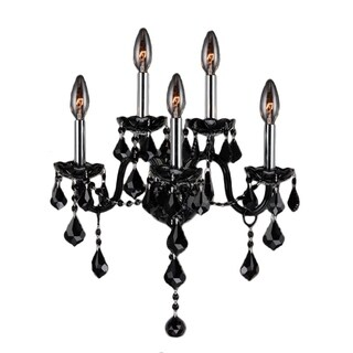Venetian Itailan Style 5-light Black Crystal and Chrome FInish Candle 2-tier 13-inch Wide Medium Wall Sconce Light