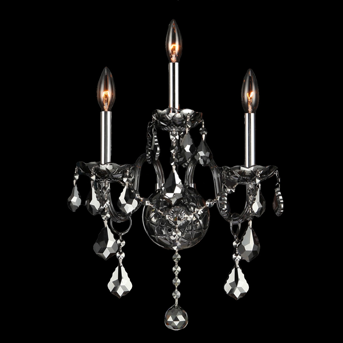 Venetian Italian Style 3-light Smoke Crystal and Chrome F...