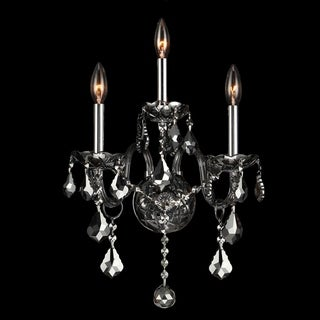 Venetian Italian Style 3-light Smoke Crystal and Chrome Finish 13-inch Wide Medium Candle Wall Sconce