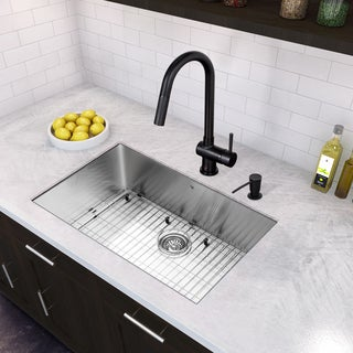 black kitchen sinks and faucets. VIGO All-in-One 30-inch Stainless Steel Undermount Kitchen Sink And Gramercy Black Sinks Faucets K