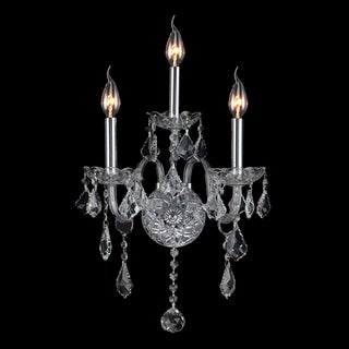 Venetian Italian Style 3-light Clear Crystal Candle 13-inch Wide Medium Wall Sconce