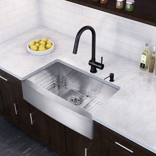 VIGO 36-inch Farmhouse Stainless Steel 16 Gauge Single Bowl Kitchen Sink and Matte Black Pull-Down Kitchen Faucet