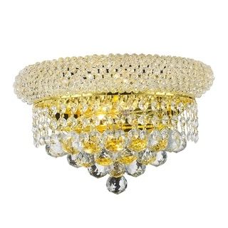 French Empire 2-light Gold Finish 12-inch Crystal Wall Sconce