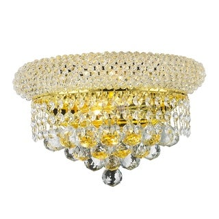 French Empire 2-light Gold Finish 12-inch Crystal Medium Wall Sconce