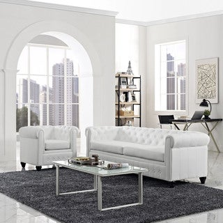 Nova White Bonded Leather Sofa And Loveseat Set 15118062