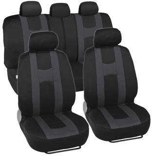 Sporty Racing Style Black and Charcoal Seat Covers
