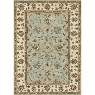 Hand-tufted Wilson Turquoise/ Ivory Rug (9' x 12')