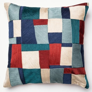 Clara Blue/ Multi Patchwork Down Feather or Polyester Filled 18-inch Throw Pillow or Pillow Cover