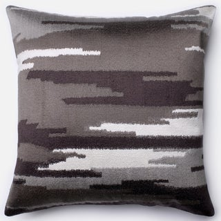 Ravine Charcoal/ Grey Embroidered Down Feather or Polyester Filled 18-inch Throw Pillow or Pillow Cover