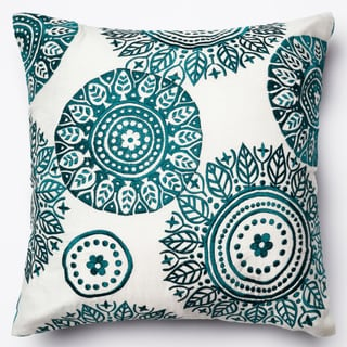 Neva Ivory/Teal Embroidered Down Feather or Polyester Filled 18-inch Throw Pillow or Pillow Cover
