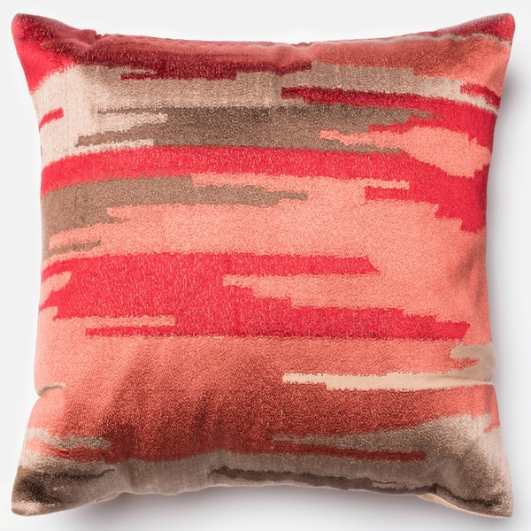 Domain Feather Filled Decorative Pillow : Ravine Coral Embroidered Down Feather or Polyester Filled 18-inch Throw Pillow or Pillow Cover ...