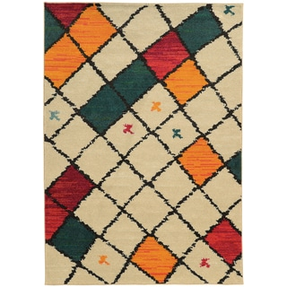 Tribal Diamond Ivory/ Multi Area Rug (9'9 x 12'2)