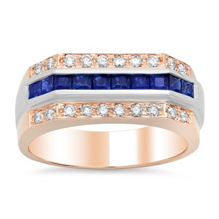 Artistry Collections 14k Rose Gold 1/2ct TDW Diamond and Blue Sapphire Ring (F-G, VS1-VS2)