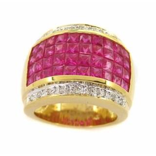Kabella 18k Yellow Gold Ruby 1/8ct TDW Diamond Vintage Ring (H-I, SI2-SI3) (Size 6)