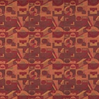 C567 Burgundy and Gold Abstract Geometric Durable Upholstery Fabric