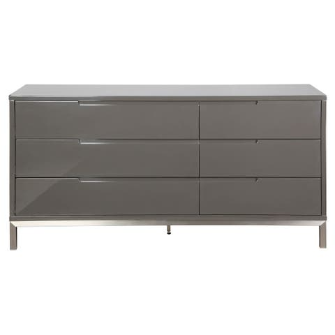 Aurelle Home Grey 6-drawer Dresser