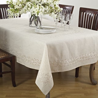 Embroidered Swirl Design Linen Blend Tablecloth
