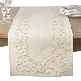 Embroidered Swirl Design Linen Blend Runner
