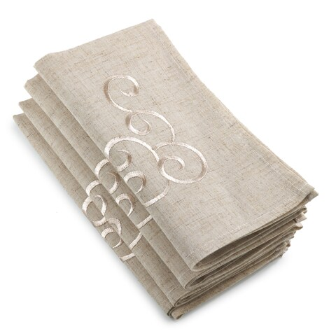 Embroidered Swirl Design Linen Blend Napkin (Set of 4)