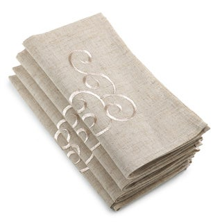 Embroidered Swirl Design Linen Blend Napkin (Set of 8)